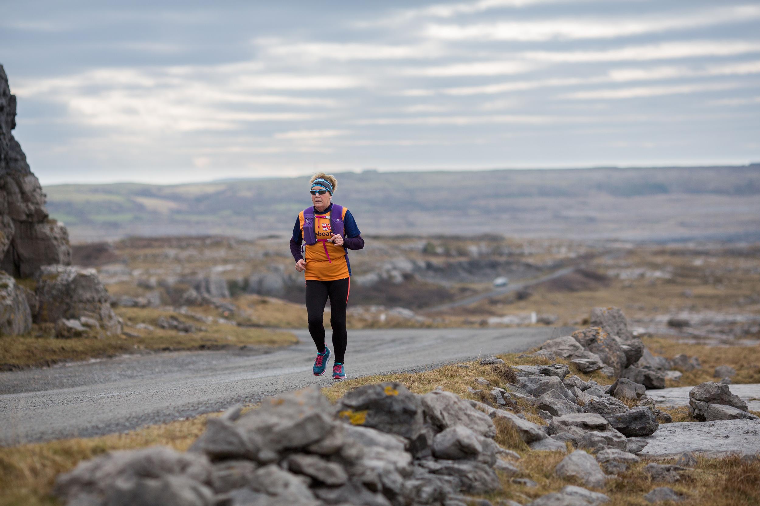 Mary Hickey runs the coast of Ireland