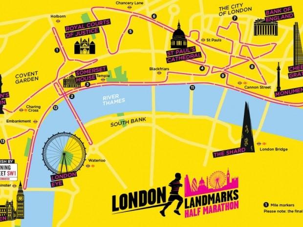 London Landmarks half marathon route