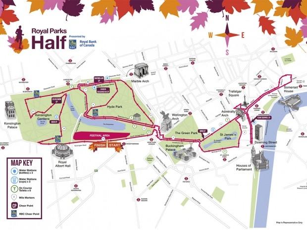 Royal Parks Half Marathon route