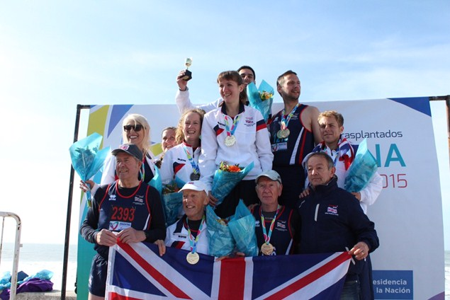 Melissa Fehr and Team GB celebrate winning gold at the World Transplant Games 2015. Photo: James O'Brien