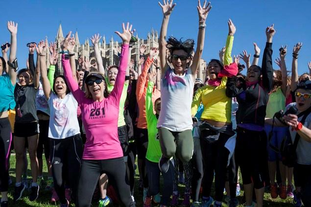 Kathrin Switzer celebrates the launch of the 261 Women's Marathon in Palma de Mallorca