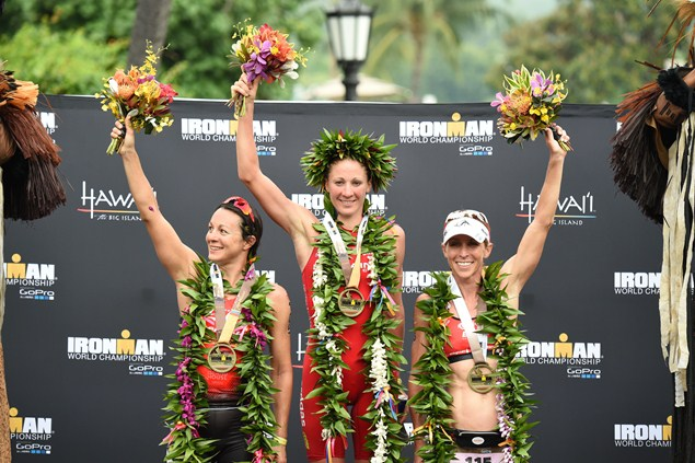 Women's podium at the 2015 Ironman World Championships (l-r) Rachel Joyce, Daniela Ryf, Liz Blatchford. Photo: Getty Images