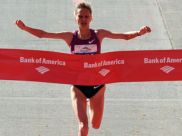 Liliya Shobukhova wins the 2010 Chicago World Marathon Major. She has since been stripped of her title for doping.