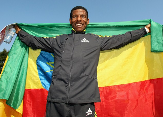 Haile Gebrselassie celebrating his win at the Berlin Marathon 2009. Photo credit: Getty Images