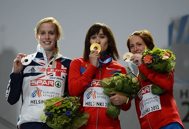 Getty Images: Russian athlete Irina Maracheva, right, has been served a two-year ban for doping.