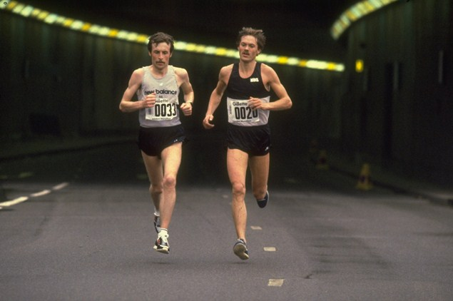 Joint winners Dick Beardsley and Inge Simonsen battle for the top spot at the first London Marathon in 1981. Photo: Getty Images