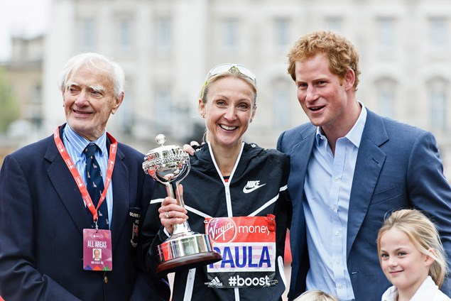 John Disley poses alongside Paula Radcliffe and Prince Harry with the inaugural John Disley London Marathon Lifetime Achievement Award during last year's London Marathon.