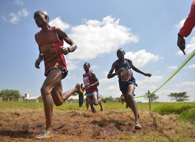 Kenyan athletes compete in the IAAF permit/National Cross Country championships in Nairobi. Photo credit: Getty Images