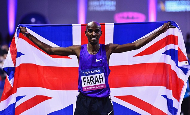 Mo Farah celebrates winning the Men's 3000 metres final at the Glasgow Indoor Grand Prix on February 20, 2016. Photo: Getty Images