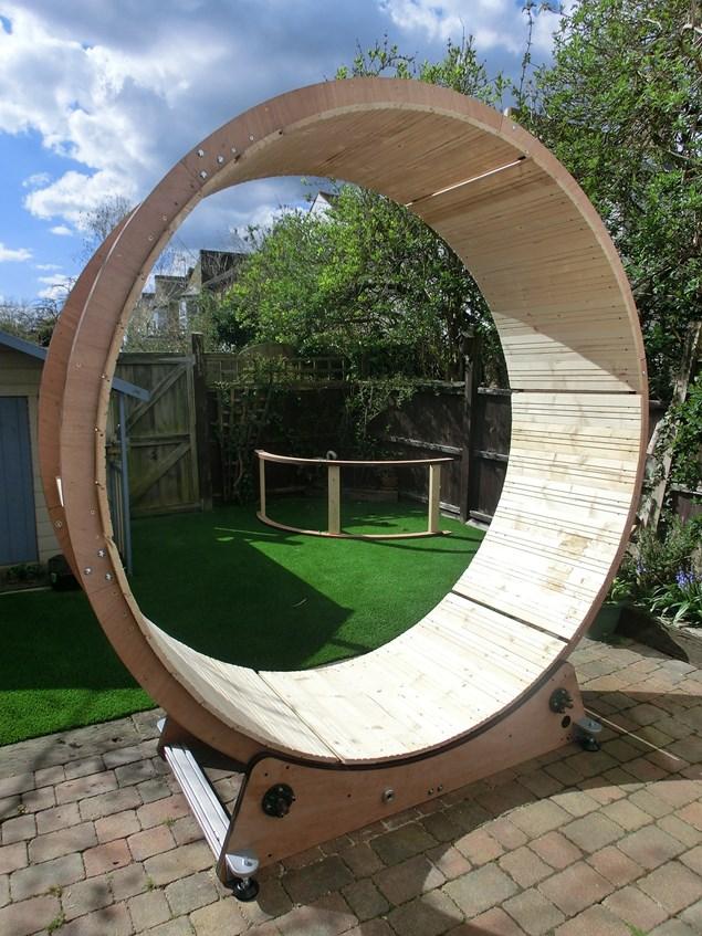 Dean Ovel constructed the giant hamster wheel himself.