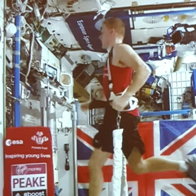 Tim had to be harnessed to the treadmill during the race due to the absence of gravity.