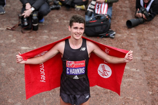 Callum Hawkins celebrates his PB at the London Marathon 2016. Photo credit: London Marathon Events
