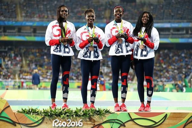 GB's Women's 100m relay team win bronze in Rio.