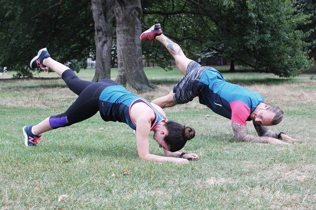 New Balance ambassador and personal trainer Richie Norton guides Zoe through some exercises