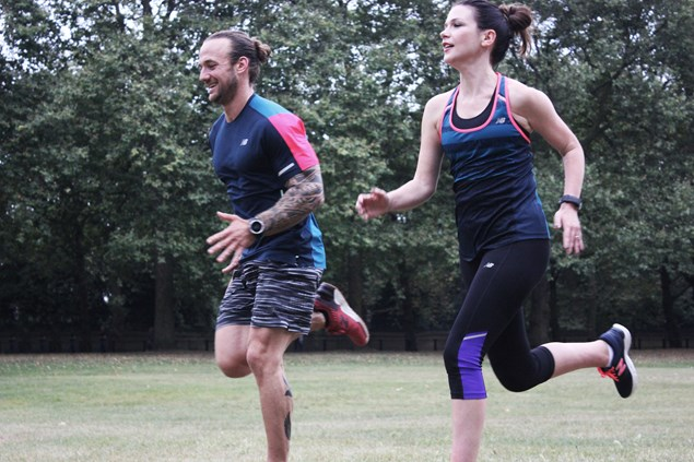 New Balance ambassador and personal trainer Richie Norton guides Zoe through some intervals