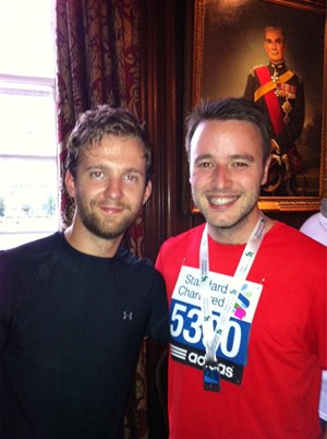 Forcing a smile after the Standard Chartered Great City Race with menshealth.co.uk editor Ryan.