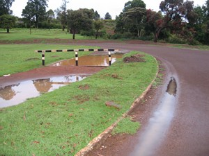 A wet track at Kamariny Stadium in Iten