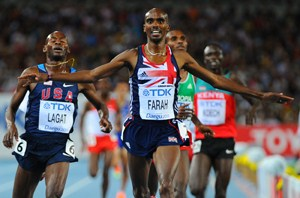 Mo Farah wins the 5,000m at the IAAF World Championship in Daegu in 2011. Picture credit: Mark Dadswell/Getty Images