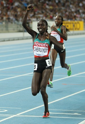 Kenya's Vivian Cheruiyot on her way to double gold at the IAAF World Champs in Daegu, 2011. Picture credit: Mark Dadswell/Getty Images.