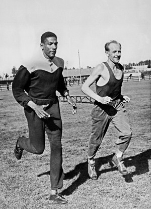 Emil Zatopek trains with Jamaican runner Arthur Wint before the 1952 Olympics. Picture credit: STF/AFP.
