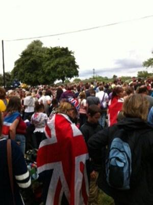 Massive crowds lined the run leg of the men's triathlon