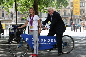 Double gold medal winning cyclist Laura Trott joins London's Mayor Boris Johnson to launch RideLondon.