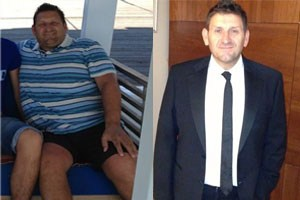 Before and after photos show David's six stone weight loss